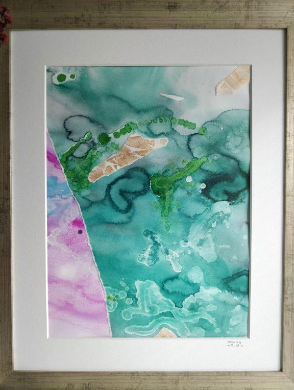 Tavla akvarell grön