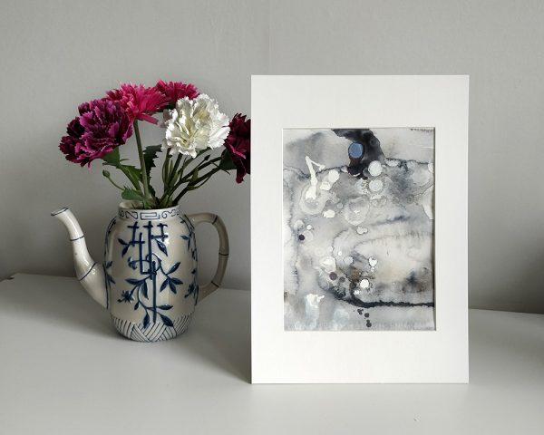 abstrakt akvarell svartvit tavla